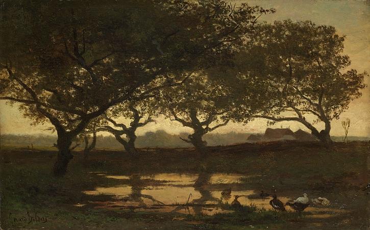 Gerard Bilders, Woodland Pond at Sunset, c1862