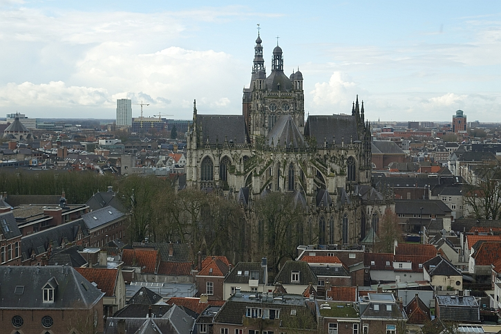 The view of St John's Cathedral from the tower of the Hieronymus Bosch Art Centre