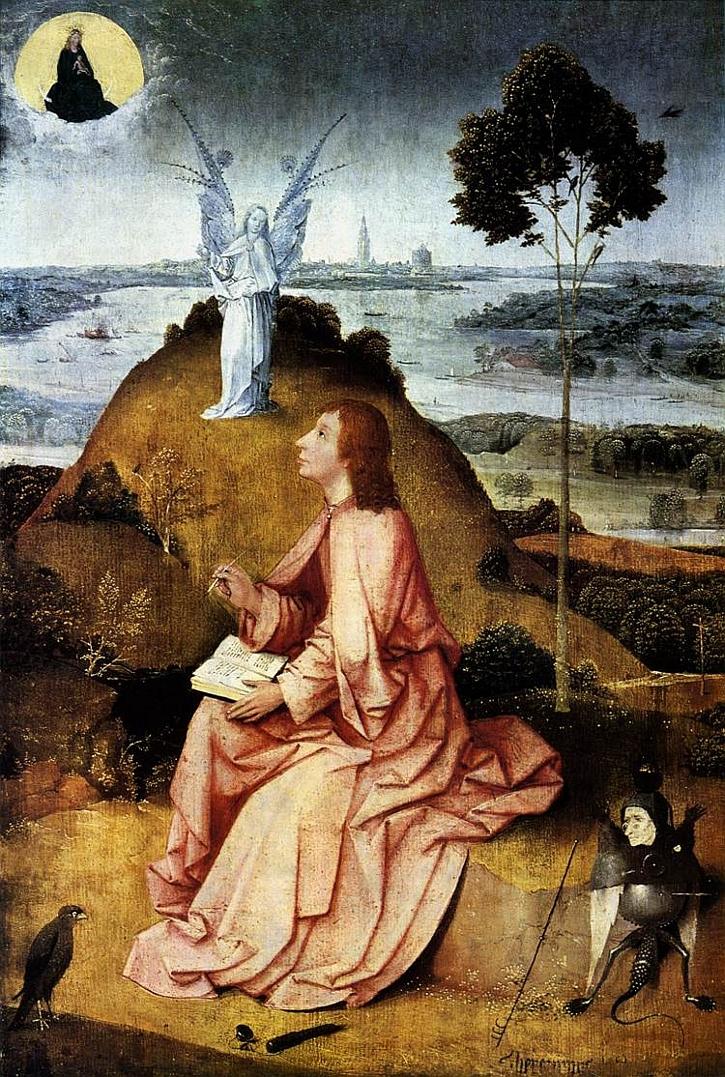 Hieronymus Bosch, Saint John on Patmos, c1490-95
