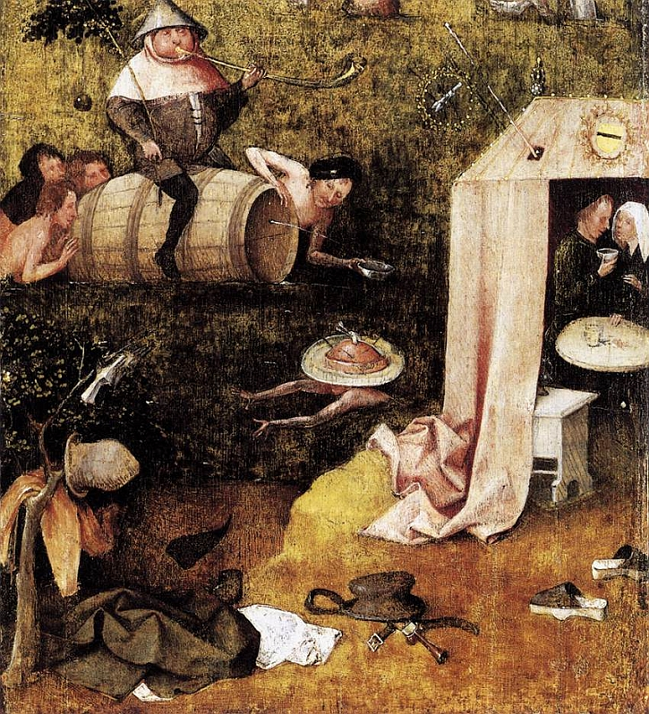 Hieronymus Bosch, The Allegory of Gluttony and Lust, interior panel, c 1500-10