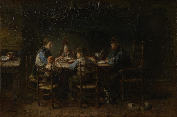 Josef Israels, Peasant Family at the Table, 1882