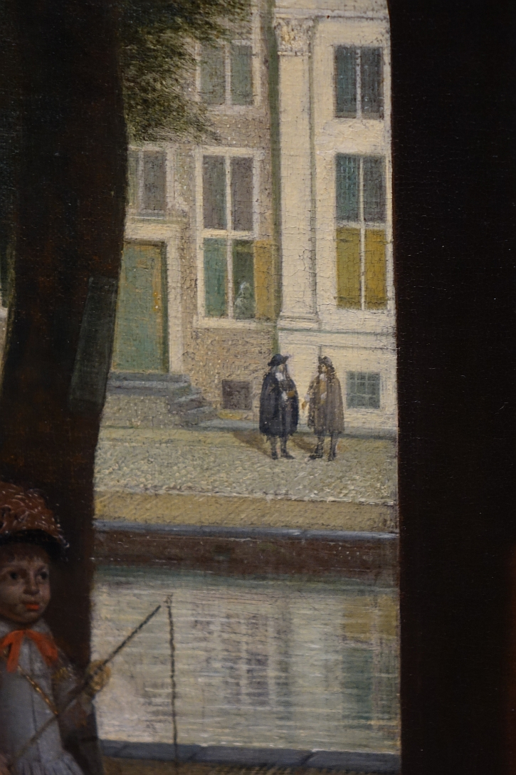 Man Handing a Letter to a Woman, detail