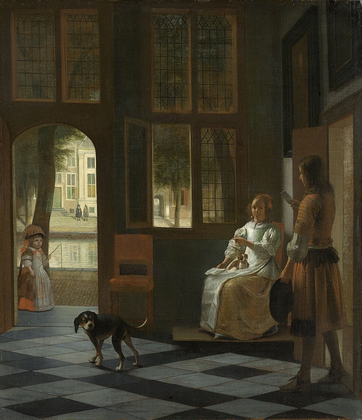 Pieter de Hooch, Man Handing a Letter to a Woman in the Entrance Hall of a House, 1670