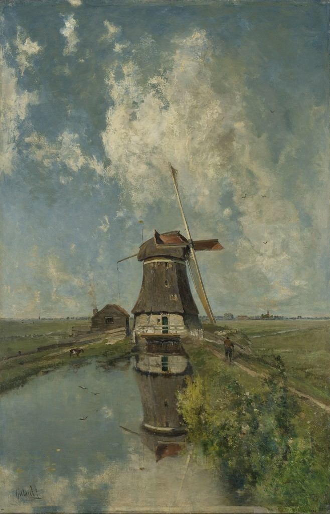 Paul Joseph Constantin Gabriel, A Windmill on a Polder Waterway, aka 'In the Month of July', ca. 1889