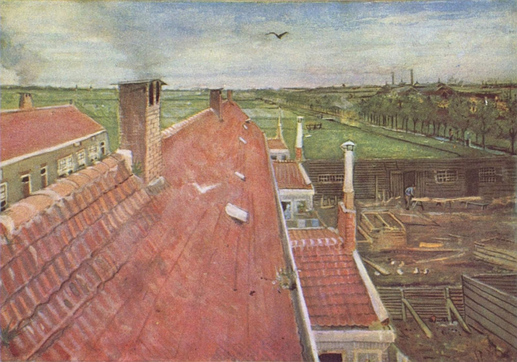 Van Gogh, Rooftops, View from the Atelier The Hague,1882, watercolor,