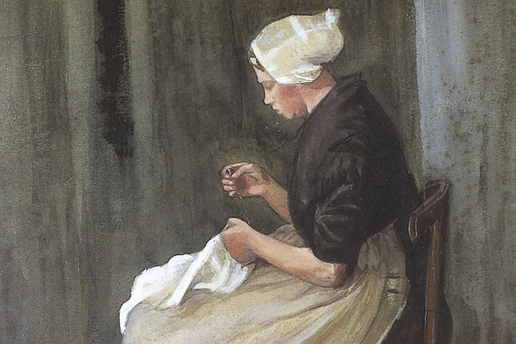 Vincent van Gogh, Scheveningen woman sewing (detail), 1881