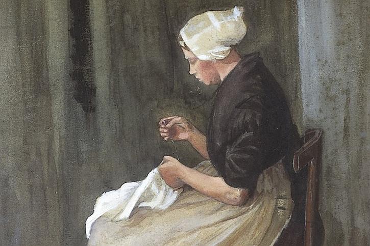 Vincent van Gogh, Scheveningen woman sewing (detail), 1881