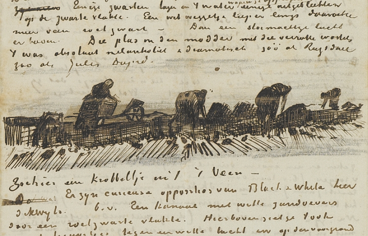Vincent Van Gogh, Women working in the peat, sketch, letter to Leo 7 October 1883