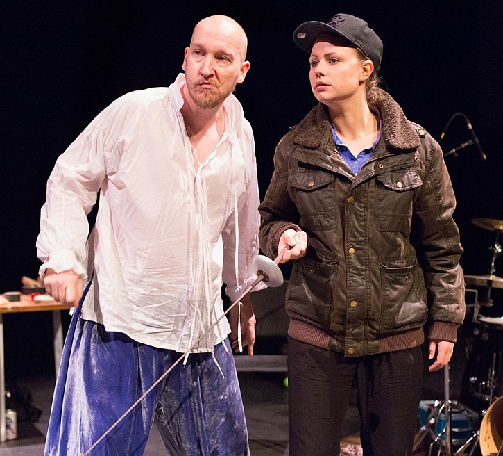 Dan Poole as Sir Toby Belch and Amy Marchant as Viola in Filter Theatre's Twelfth Night
