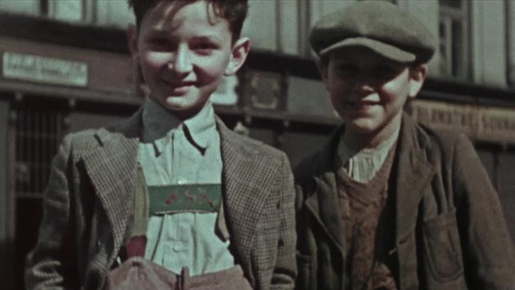 Still from Hans Frank's colour film shot in the Krakow Ghetto, circa 1940