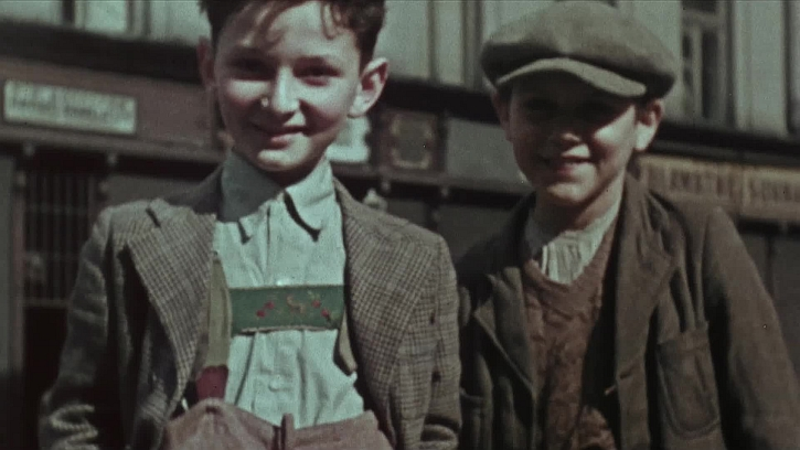 Still from Hans Frank's colour film shot in the Krakow Ghetto, circa 1940