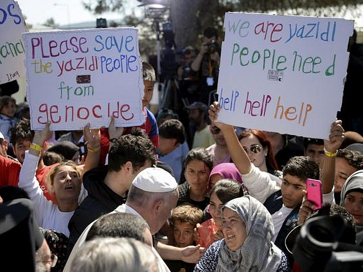 Pope Francis during his visit to Lesbos