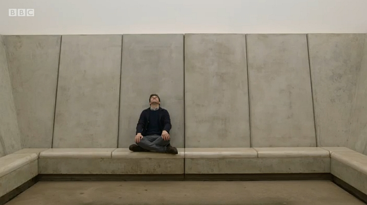 James Fox watches the skies in James Turrell's Skyspace at YSP