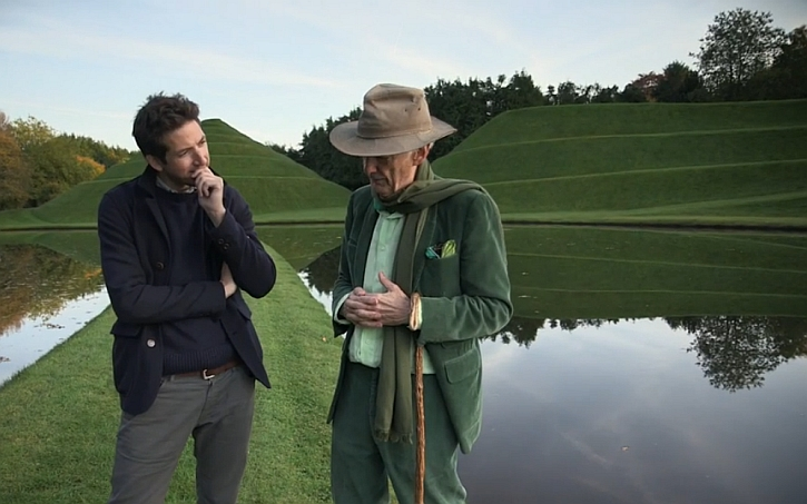 James Fox with Charles Jencks in The Garden of Cosmic Speculation