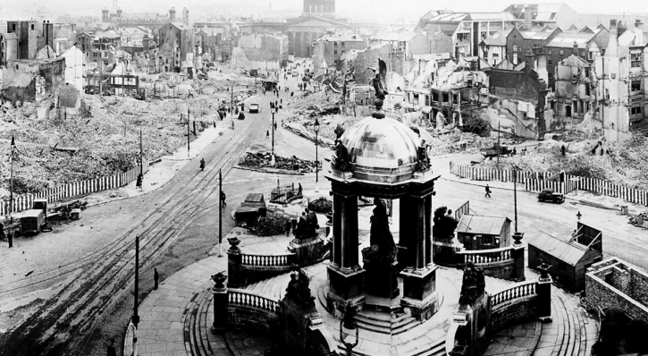 This photograph was taken from the Victoria Monument in Derby Square on the morning of 7 May 1941by Stewart Bale