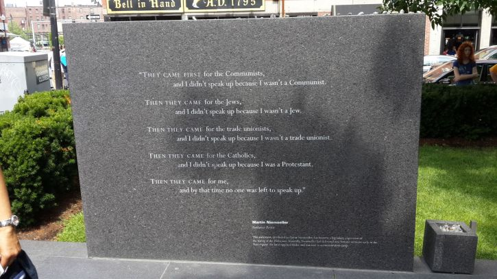 Poem by Martin Niemoeller at the Holocaust memorial in Boston Massachusetts