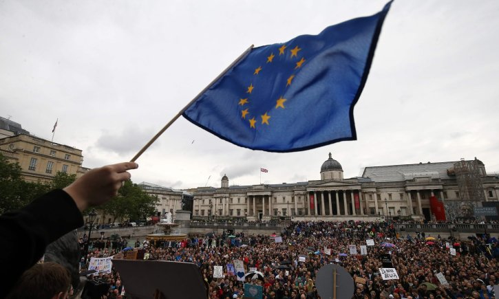 Demonstrators at an anti-Brexit protest in Trafalgar Square on 28 June 2016