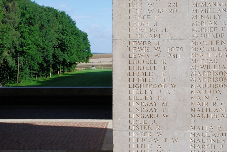 The names of a few of the Missing on the Thiepval memorial