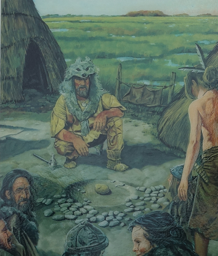 An artist's impression of a shaman at Lunt Meadows engaged in a cermony around the large pebble of fool's gold
