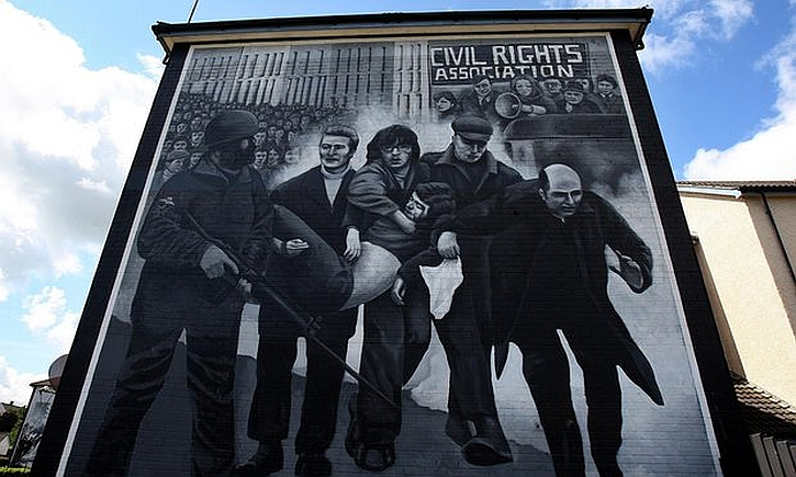The mural in the Bogside depicting Father Daly