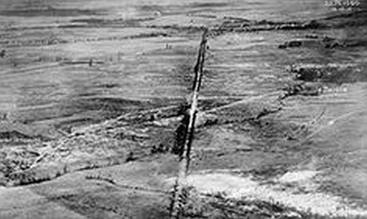 Aerial photograph of the Albert to Bapaume road, taken 16 October 1916.