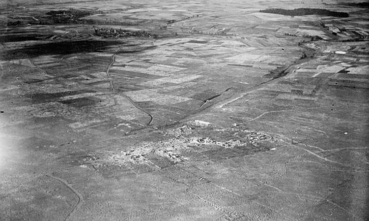 Aerial photograph of the Somme battlefield around Courcelette village October 1916.