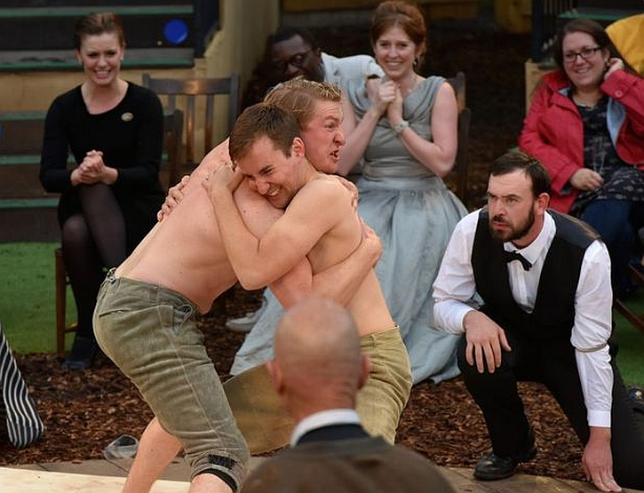 The wrestling match: Fred Lancaster as Orlando and Harry Livingstone as Charles