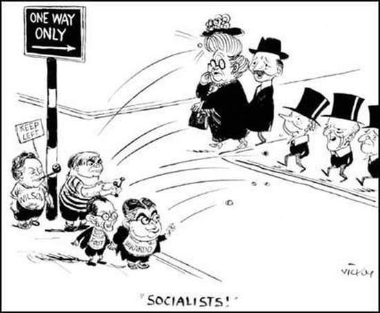 Vicky, cartoon showing Harold Wilson, Aneurin Bevan, Michael Foot, Ian Mikardo