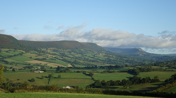 The edge of the Black Mountains as seen from above Pandy