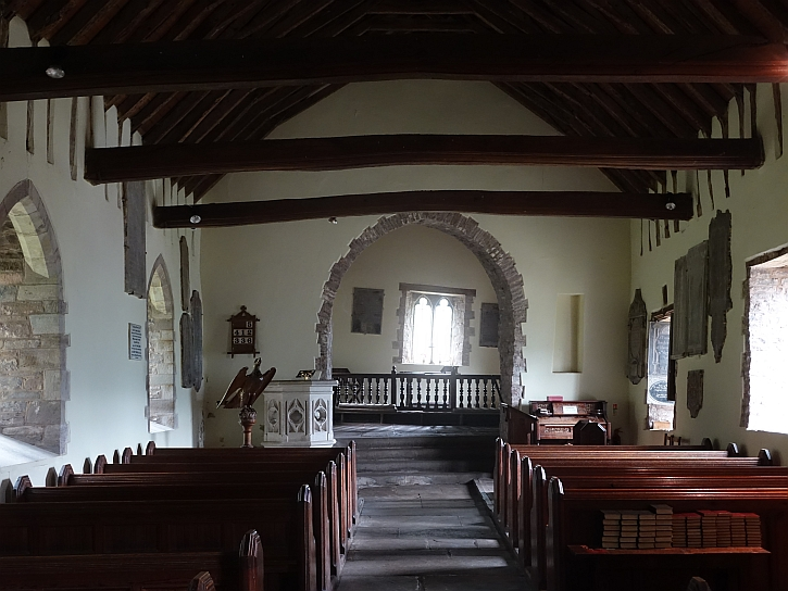 The interior of the church: note the crooked far window
