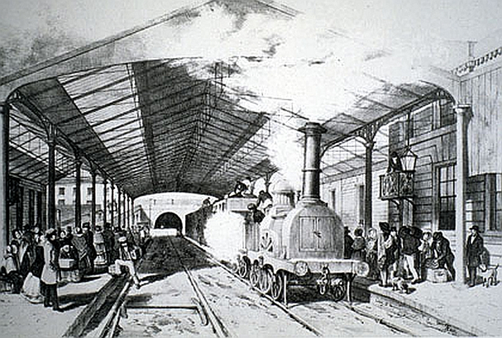 Edge Hill railway station in 1830s