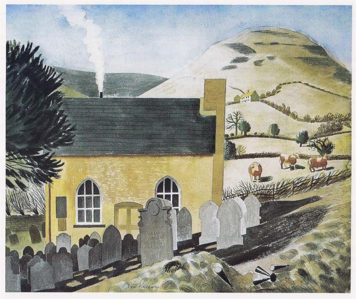 Eric Ravilious, Lord Hereford's Knob and the Chapel at Capel-y-Ffin, 1938