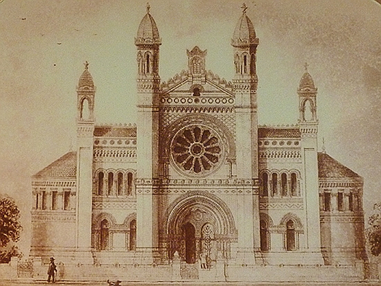 An original drawing of the Princes Road synagogue - with original minarets