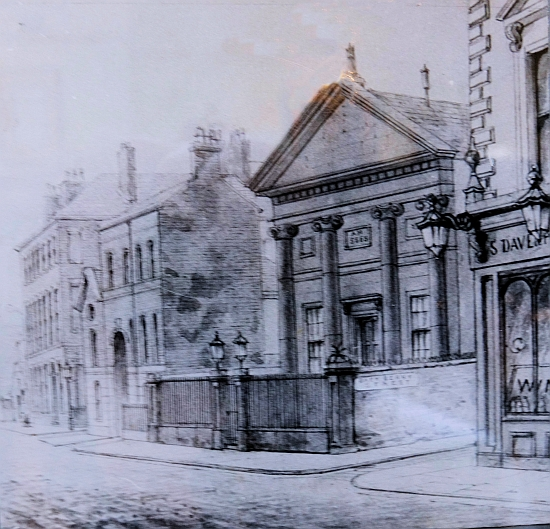 A contemporary drawing of the Seel Street synagogue