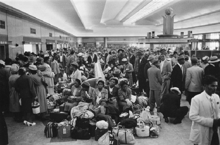 West Indian immigrants waiting in the customs hall at Southampton docks, May 1956