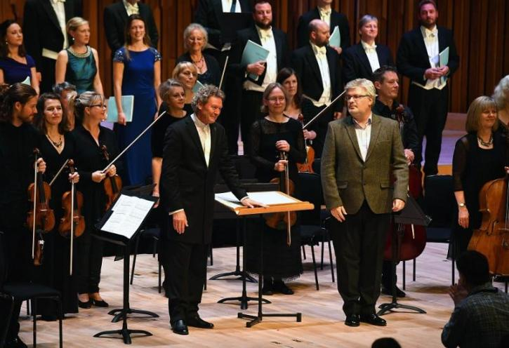 James MacMillan (right) and conductor Harry Christophers take a bow at the Barbican world premiere