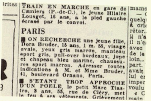 The 1941 advertisement placed by the parents of Dora Bruder