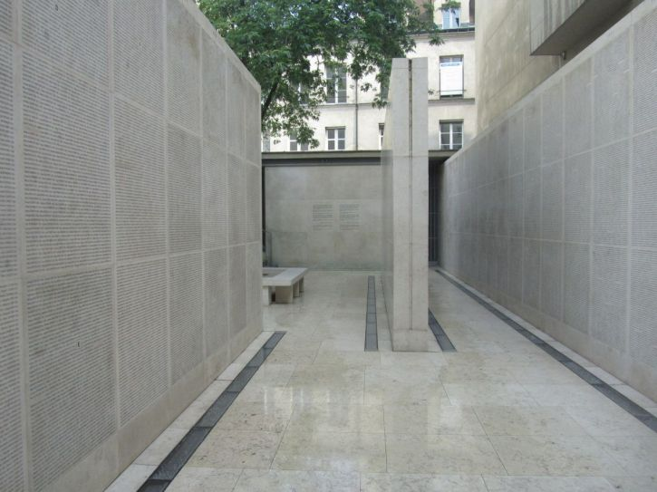 The Wall of Names Holocaust memorial in Paris