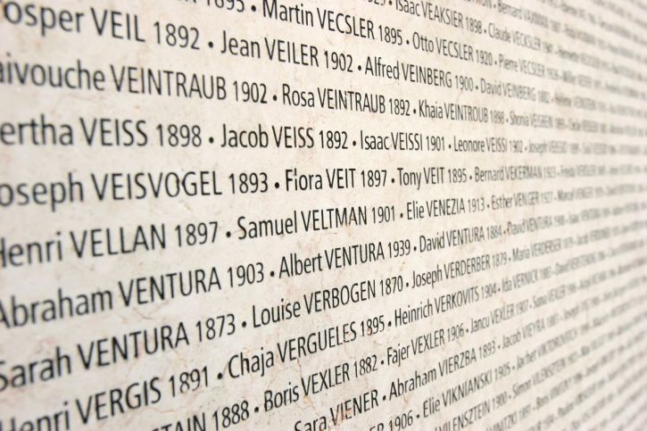 13 Mar 2005, Paris, France --- The Wall of Names in the Shoah Memorial in Paris lists the 76,000 French Jews sent to the Nazi death camps from 1942 to 1944. --- Image by © Pascal Deloche/Godong/Corbis