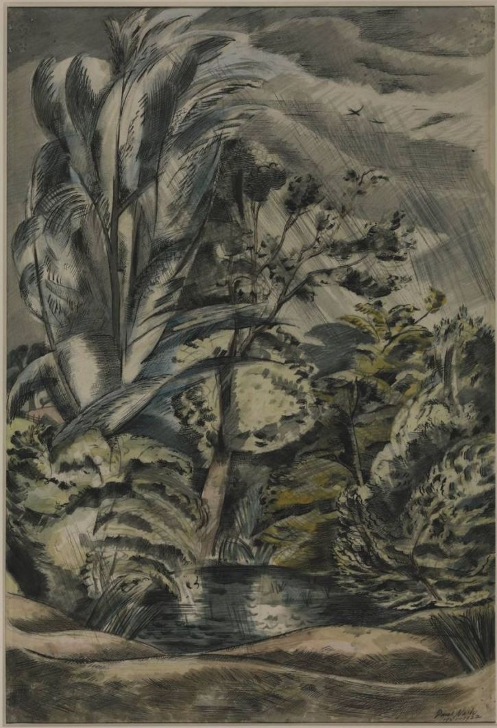 Paul Nash 'Tench Pond in a Gale', pen, pencil and watercolour, 1921–2