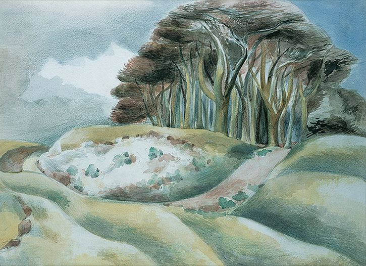 Paul Nash, Wittenham, watercolour, 1935