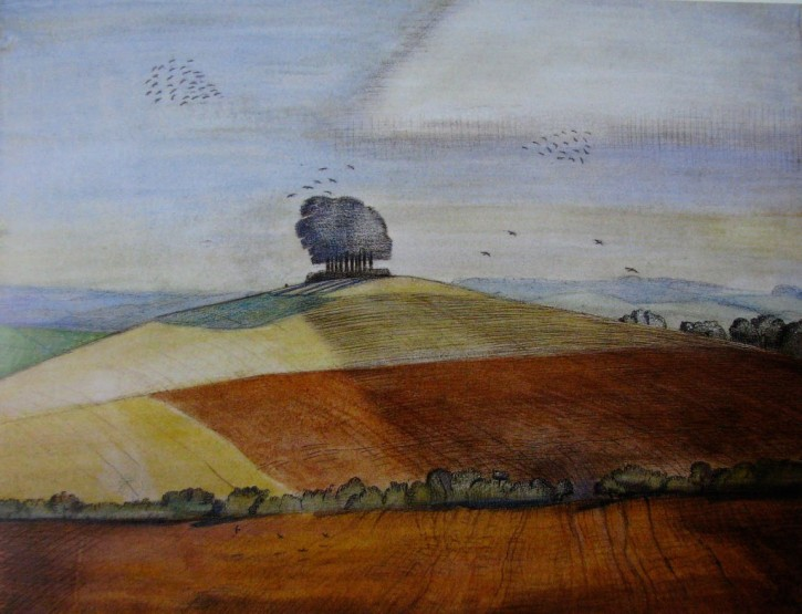 Paul Nash, Wittenham Clumps, watercolour, 1913