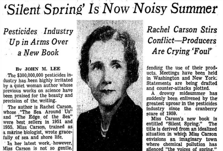 Silent Spring: the article in the New York Times on 22 July 1962