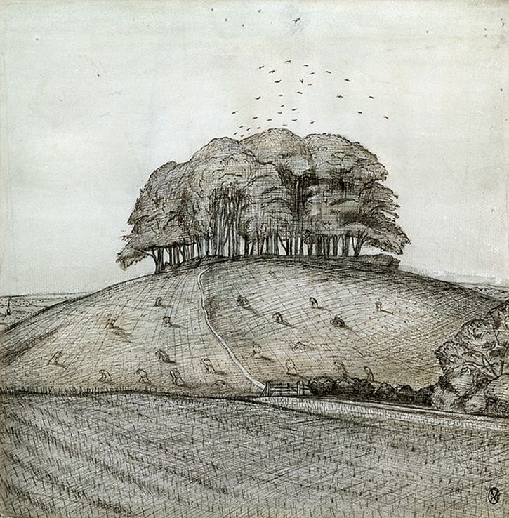 Paul Nash, The Wood on the Hill, watercolour, ink & chalk on paper, 1912
