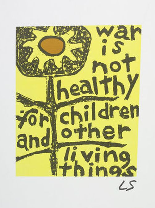 'War is not healthy for children and other living things poster', 1966 by Lorraine Schneider for Another Mother for Peace, a grassroots women's movement
