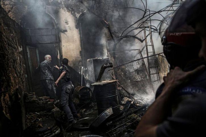 Airstrike on rebel-held city of Douma near Damascus 11 September 2016