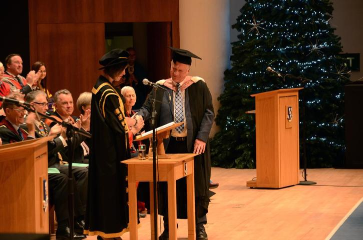 Pete Cresswell receives his honorary degree from Liverpool University Vice-Chancellor, Janet Beer