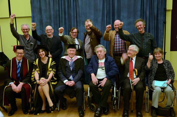 Old comrades celebrate yesterday. Pete Cresswell is seated 3rd from left with Vice-Chancellor Janet Beer to his right.