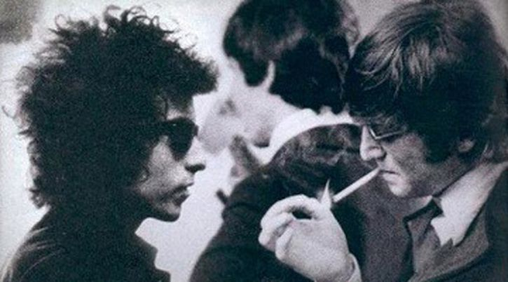 Dylan with Paul and John in 1966, from D.A. Pennebaker's Eat the Document