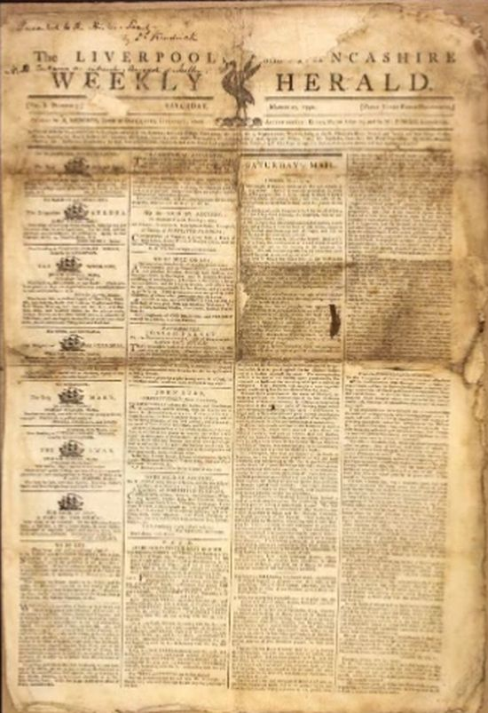 A copy of The Liverpool Herald, edited for a time by Edward Rushton